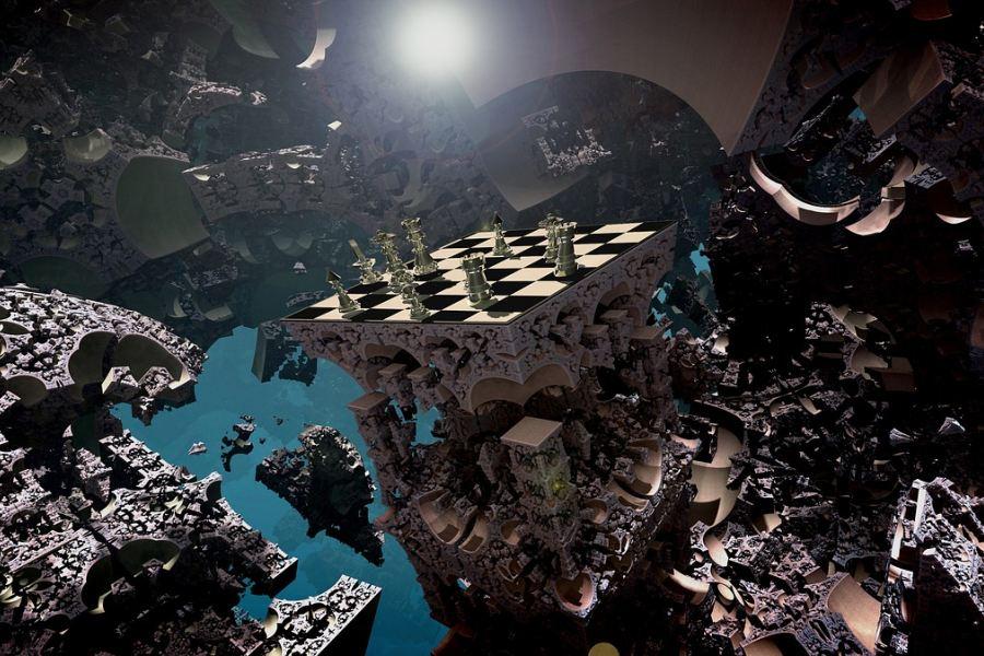 Lecące szachy nad fraktalową strukturą.