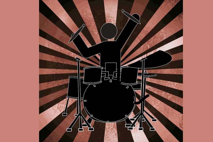 grafika grającego perkusisty na intrumencie