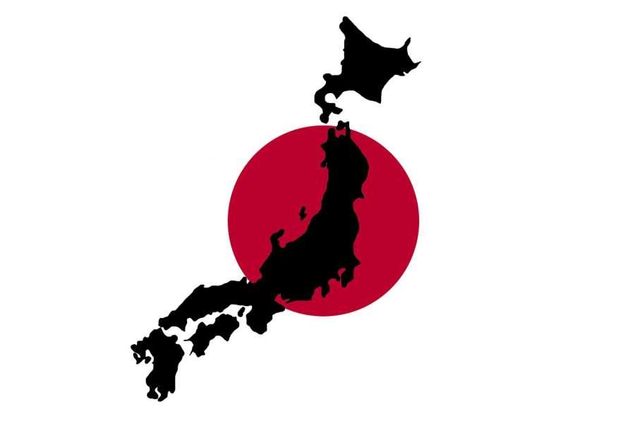 ilustracja archipelagu wysp japońskich na tle flagi Japonii.