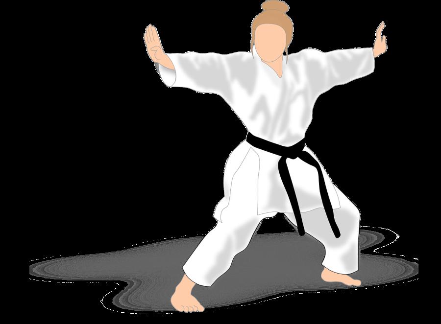 postać kobiety, ubranej w karate gi, która ćwiczy kata.