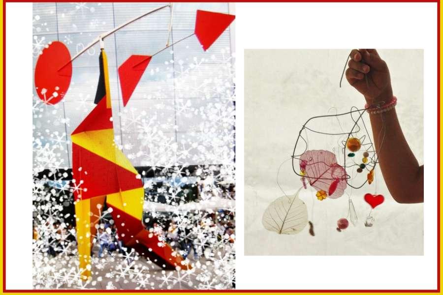 dwa zdjęcia prac plastcyznych tzw. mobile