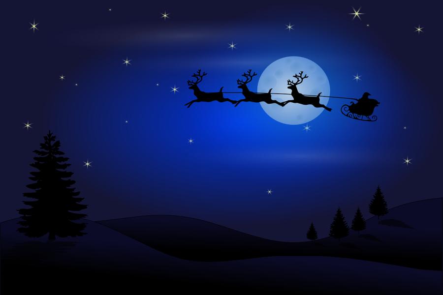 sanie św. Mikołaja ciągnięte przez renifery na tle nieba - grafika
