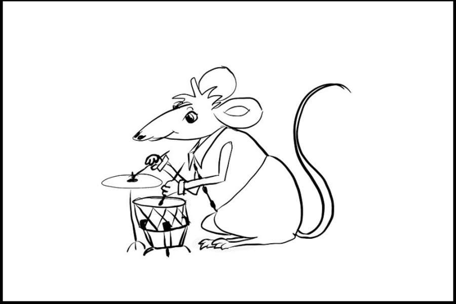 Rysunek przestawia myszkę grającą na talerzu i werblu