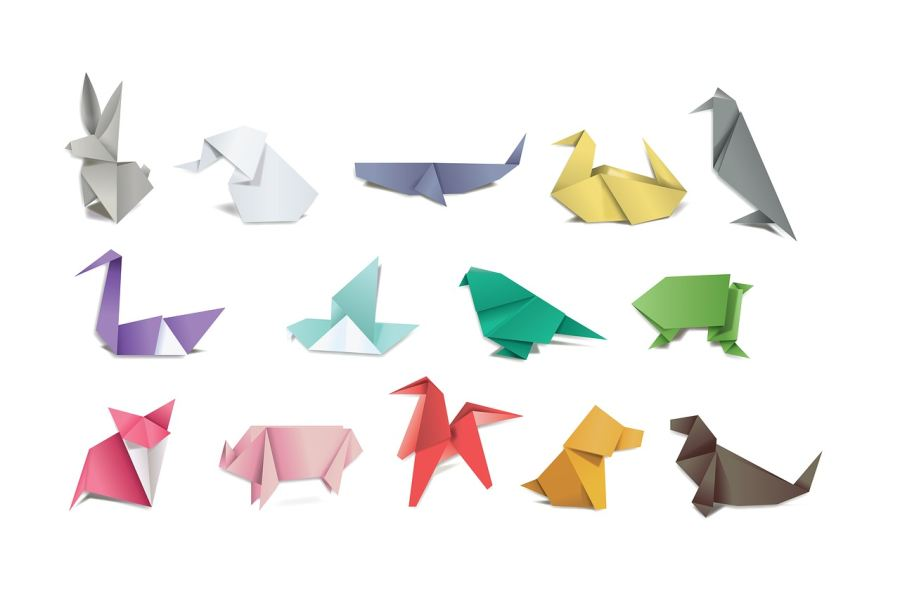 kolorowe figurki origami