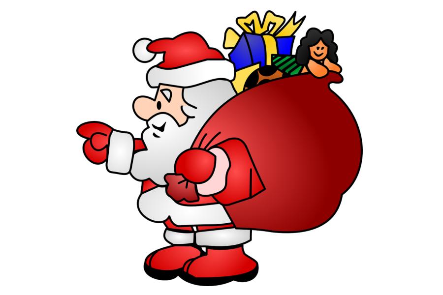 grafika z Mikołajem który niesie worek prezentów