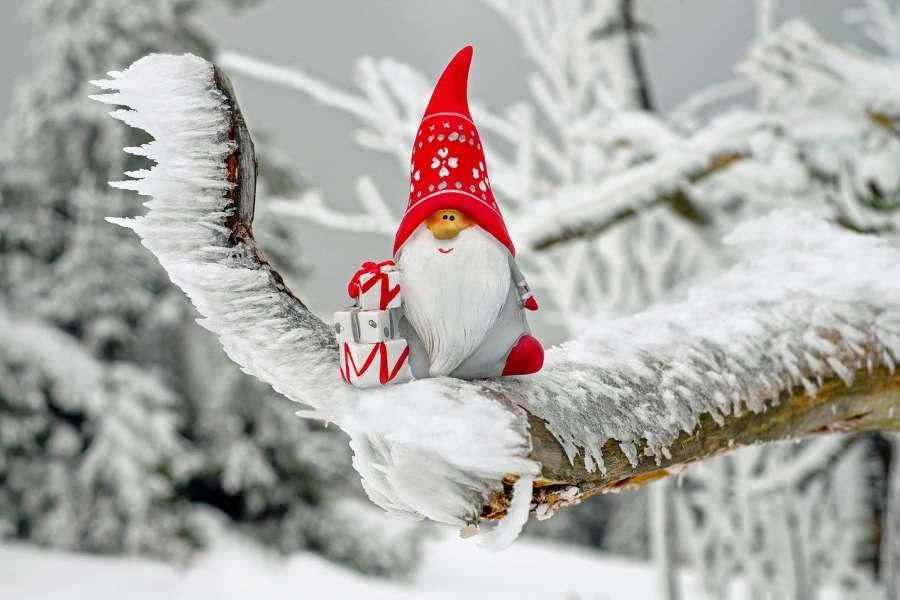 figurka Mikołaja na ośnieżonej gałęzi