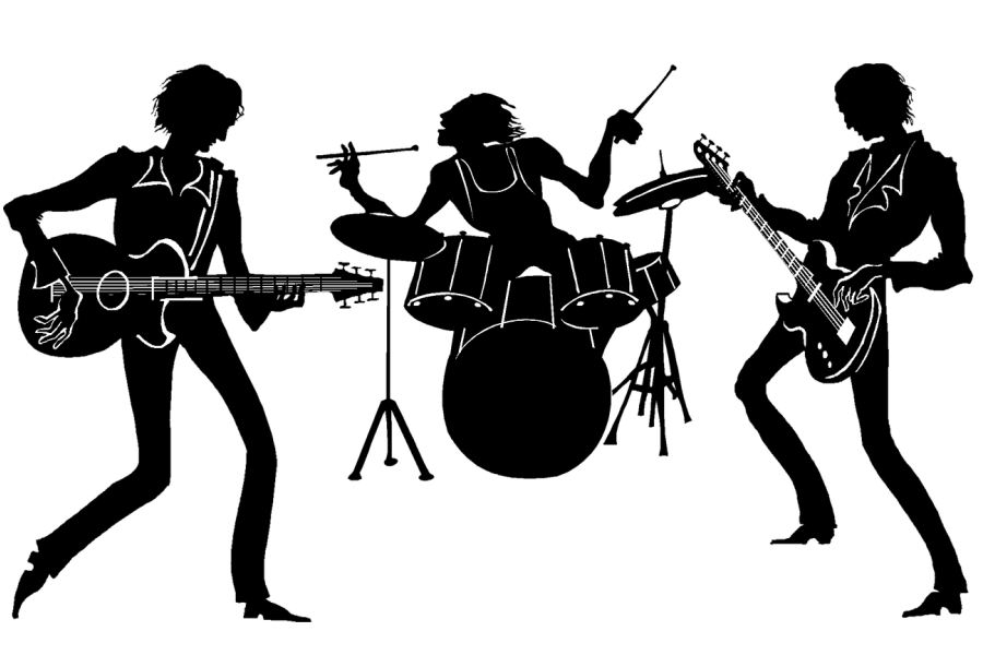 czarna grafika na białym tle, dwóch gitarzystów i jeden perkusista