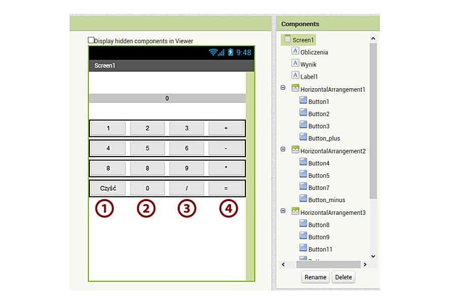 obrazek przedstawiający fragment strony WWW z widokiem interfejsu użytkownika aplikacji kalkulator