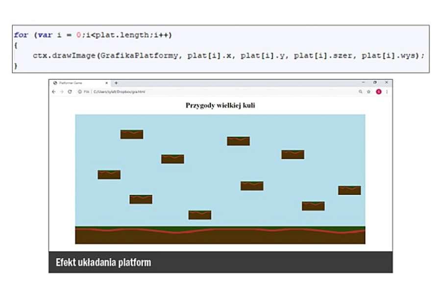 Zrzut ekranu okna gry i fragmentu kodu JavaScript