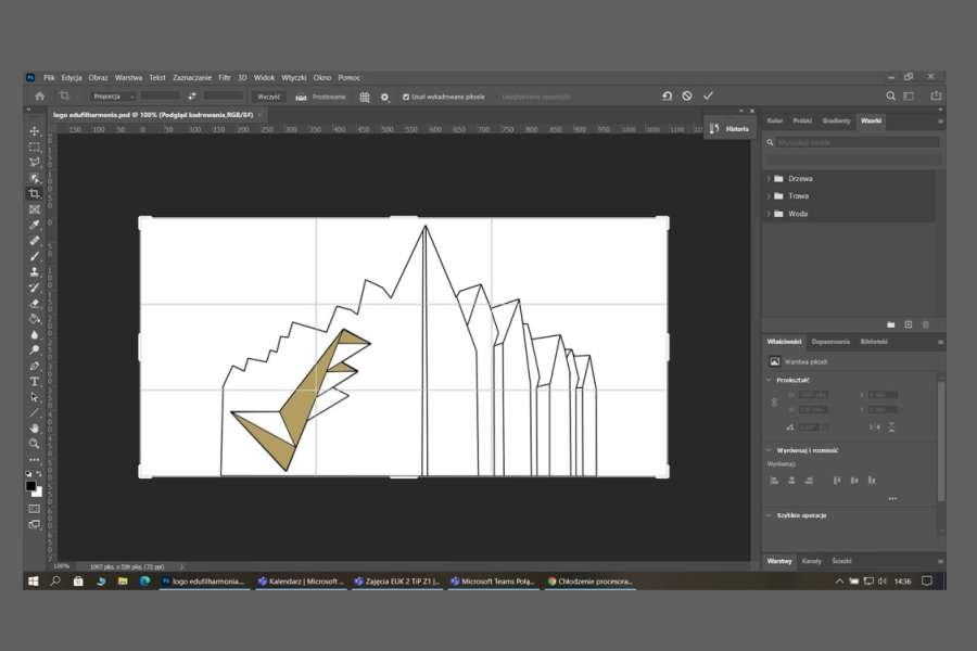 zrzut ekranu przedstawiający okno programu graficznego z projektem logo