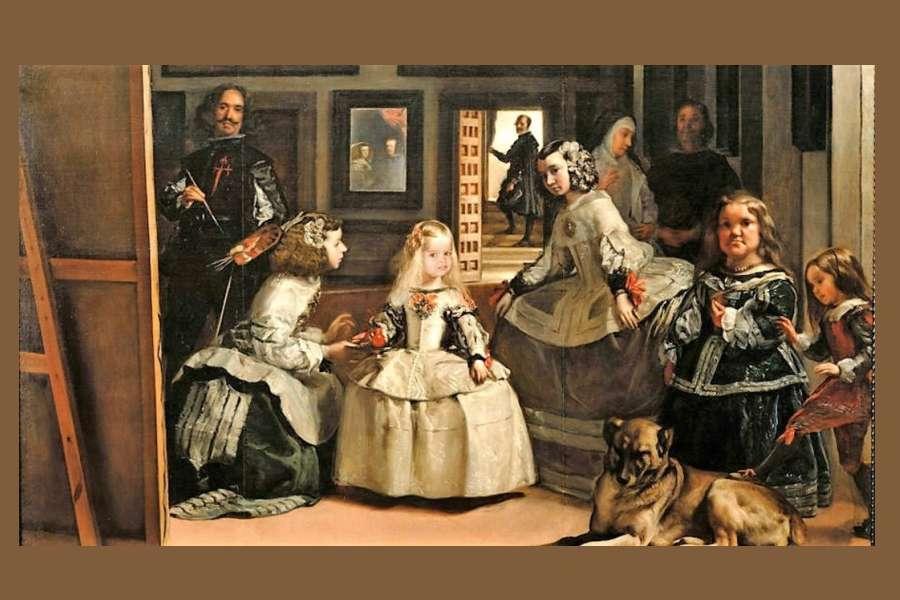 reprodukcja obrazu przedstawia infantkę Małgorzatę i dwórki w bogatych strojach, a także malarza i parę królewską odbitą w lustrze w ciemnobrązowym wnętrzu