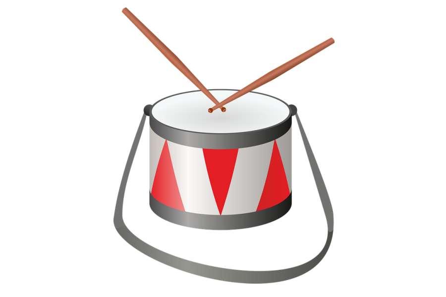 Rysunek przedstawia namalowany białoczerwony werbel na pasku oraz dwie pałeczki