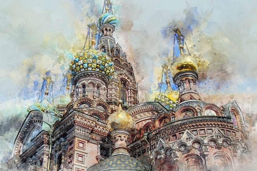 Zdjęcie przedstawia rysunek w technice pasteli przedstawiający rosyjską architekturę Kremla