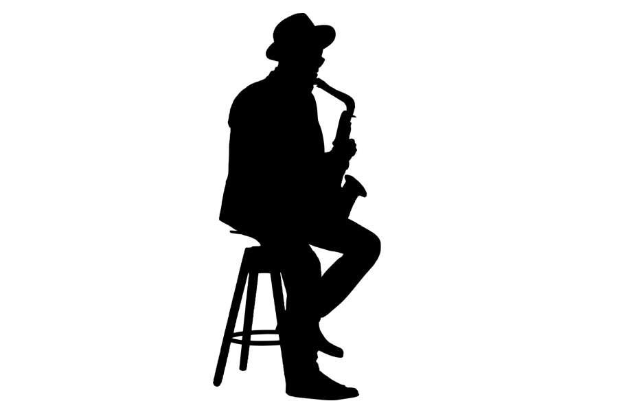 na grafice widać sylwetkę muzyka jazzowego grającego na saksofonie.