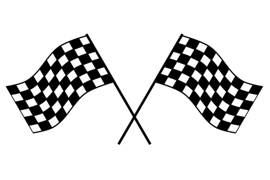 grafika przedstawia dwie skrzyżowane flagi oznaczające koniec zmagań.