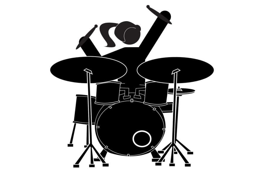 grafika przedstawiajaca dziewczynę grającą na perkusji