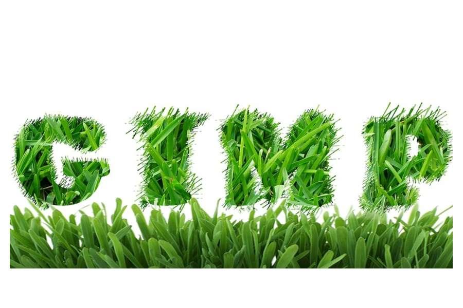 grafika - napis GIMP wyciety z trawy