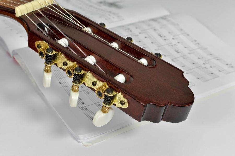 Główka gitary klasycznej na białym tle