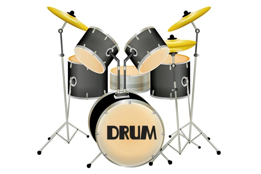 ysunek przedstawia perkusję złożona z pięciu bębnów oraz trzech talerzy.