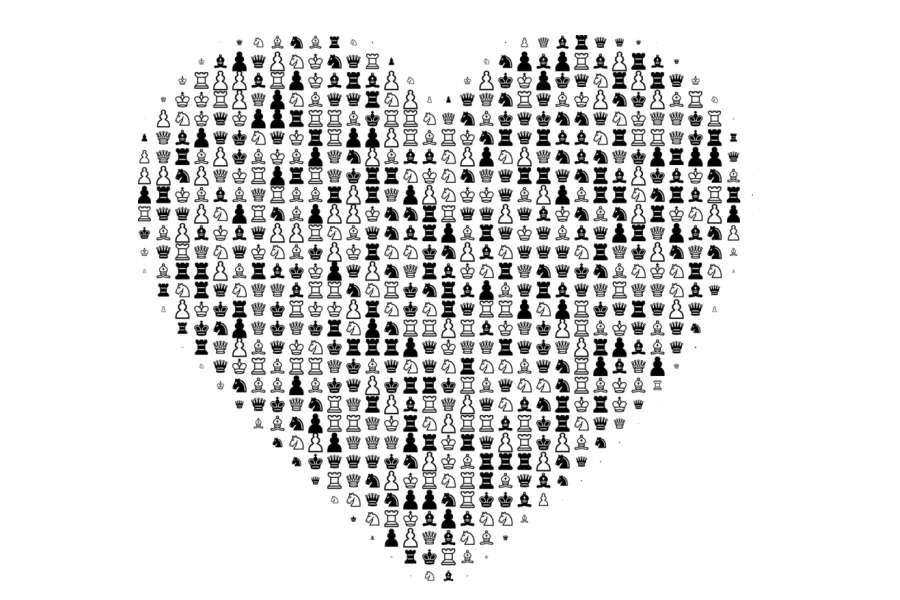 grafika serce zrobione z figurek szachowych