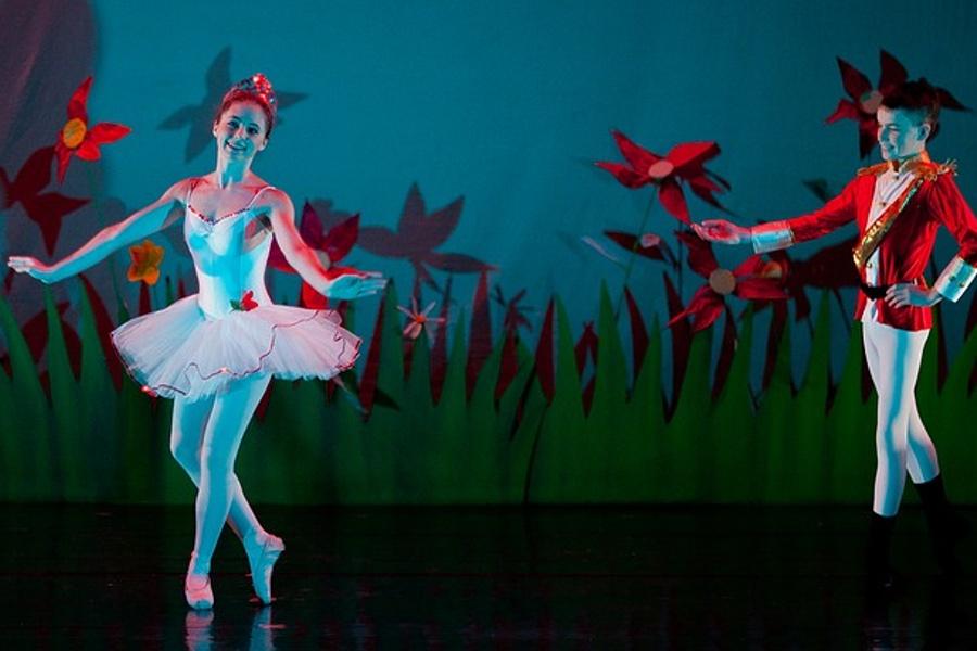 Zdjęcie przedstawia tancerkę i tancerza na scenie. Scenografią jest trawa i czerwone kwiaty.
