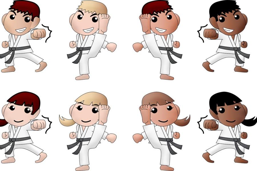 grupa karateków rysunek