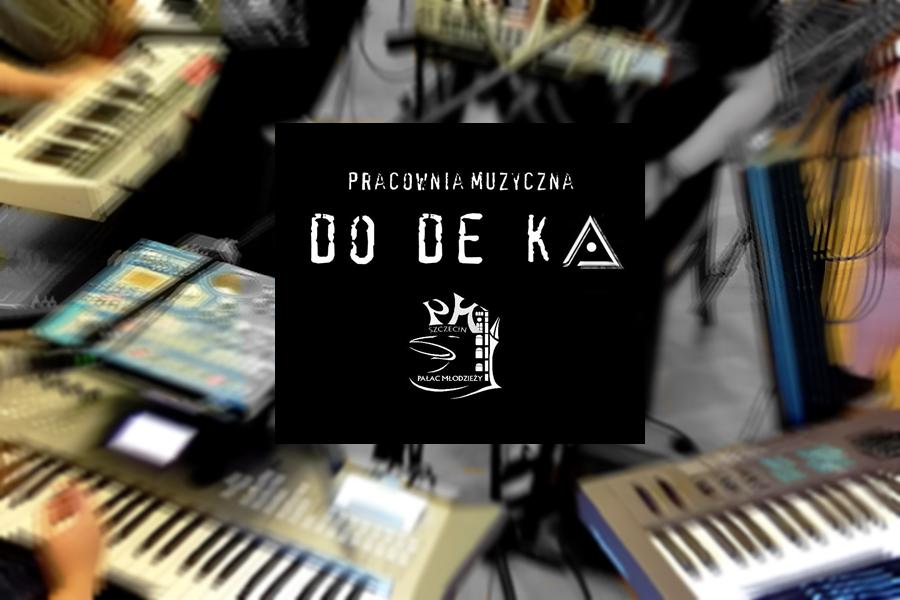 instrumenty muzyczne i i napis Dodeka