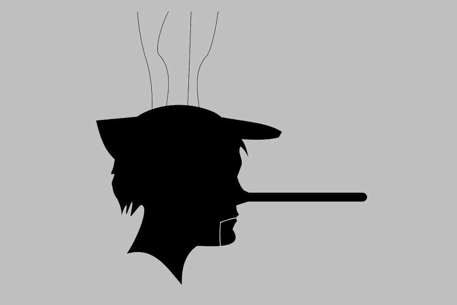 grafika męzczyzna z długim nosem