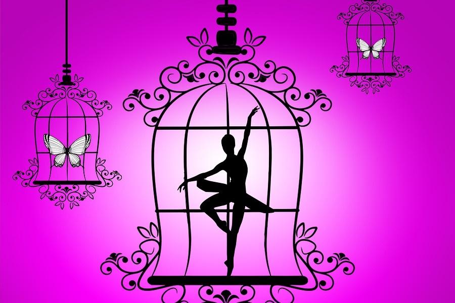 grafika przedstawiająca klatki w któych są motyle i tancerka