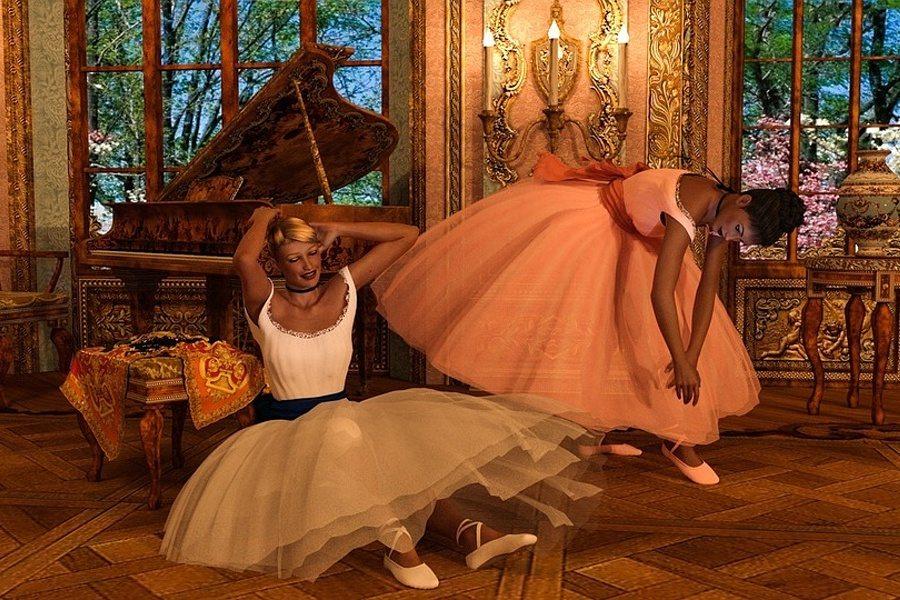 Zdjęcie przedstawia pałacowe wnętrze i dwie baletnice przy fortepianie.
