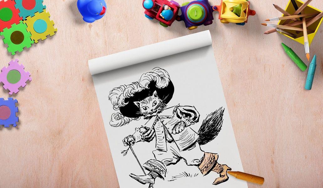 kolorowanka z postacią Kota w butach, w górnym tle kolorowe zabawki.